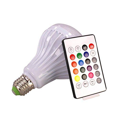 Frisch LED Smart Musik Leuchtmittel mit integriertem Bluetooth 3.0Lautsprecher, 12W E27RGB Farbwechsel Lampe Wireless Stereo Audio mit 24Schlüssel-Fernbedienung