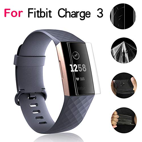 Cooljun Fitbit Charge 3 Schutzfolie [5 Stück], [Vollständige Abdeckung] [HD Clarity] Anti-Kratzer/Anti-Blase-Installation Folie,Displayschutzfolie für Fitbit Charge 3 (5 PC)