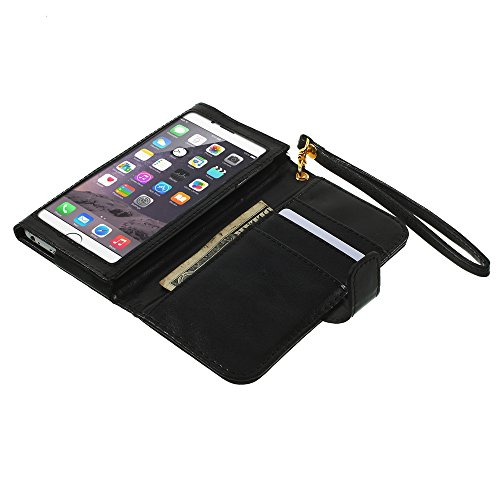 """DFV mobile - Crazy Horse PU Leather Wallet Case with Frame Touchable Screen and Card Slots for =>      APPLE IPHONE 6 [4,7""""] > Black Black"""