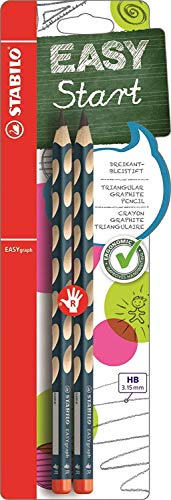 Matita Ergonomica triangolare - STABILO EASYgraph per Destrimani in Petrolio - Pack da 2 - Gradazione HB