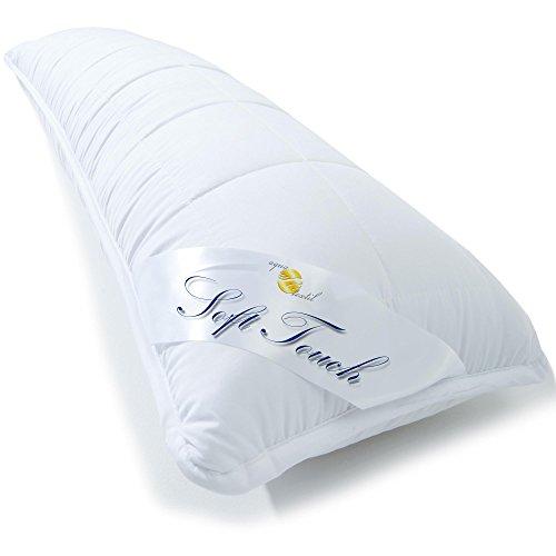 *Seitenschläferkissen 40×120 cm mit Reißverschluss zum Anpassen der Füllung, waschbar bis 95 Grad, atmungsaktives Stillkissen Schwangerschaftskissen, weicher versteppter Bezug in weiß, aqua-textil Soft Touch 1000482*