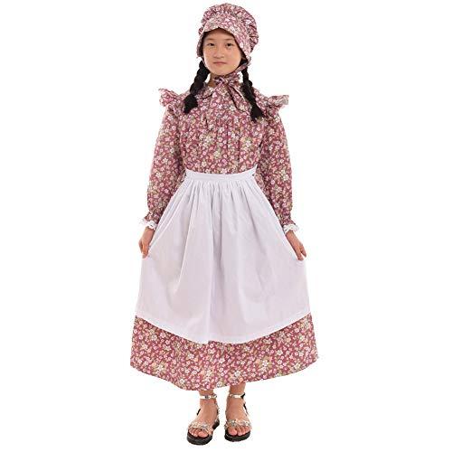 GRACEART Mädchen viktorianisch Kostüm Prairie Kleid 100% Baumwolle (4 Farben Option) (Maroon, US-7) - Maroon Baumwolle Farbe