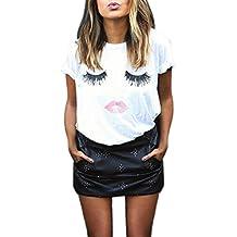 Camiseta Para Mujer de Las Señoras Impresión de Las Pestañas Blusa de Manga Corta