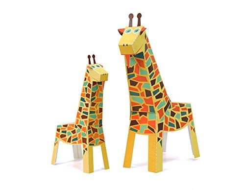 POWERHAUS24 Große Giraffe, Bastelvorlage Tiere aus Afrika, Papier Spielzeug zum Basteln & Spielen