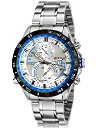Curren 8149 Men'S Round Dial Analog Watch With Calendar & Stainless Steel Strap (White)