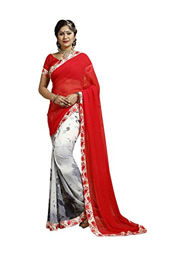 DaFacioun Red Georgette Saree with V Neck Blouse 75400