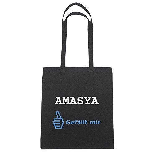 JOllify Amasya Borsa di cotone B2822 schwarz: New York, London, Paris, Tokyo Schwarz : Gefällt mir