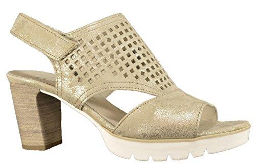 Gabor 43832-62 - Damenschuhe Sandalette / Sling, Beige, leder (caruso metallic), absatzhöhe: 50 mm Beige