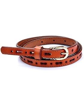 lureme®pretina delgada de cuero estrecho hueco patrón ajustable del estiramiento de la cintura correa de las mujeres...