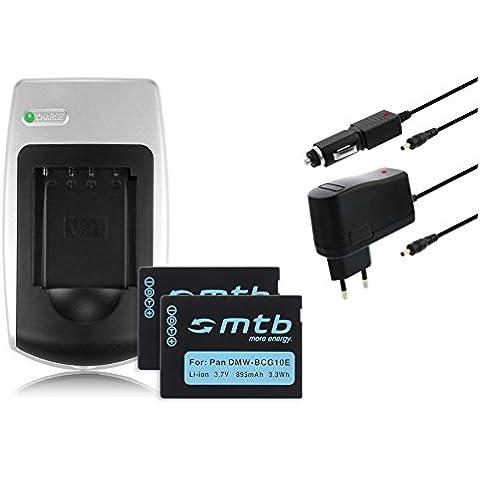 Cargador + 2 Baterías DMW-BCG10E para Panasonic Lumix DMC-TZ27, TZ30, TZ31, TZ65, ZR1, ZX3