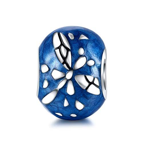 925 Sterling Silber Tier Charms Frauen blau Emaille Libelle Bead Charm Anhänger passen Pandora Armbänder