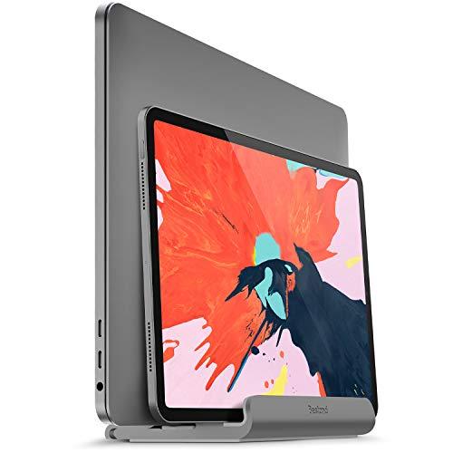 BESTAND 2 in 1 Vertikal-Laptop-Ständer für MacBook und iPad/iPhone, verstellbarer Laptop-Ständer für Laptops von verschiedener Dicke(Grau) -