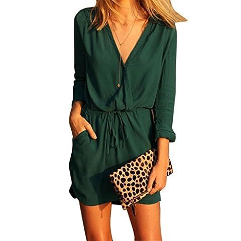 Women V Neck Green Long Sleeve,HOMEBABY Chiffon Party Dress Evening