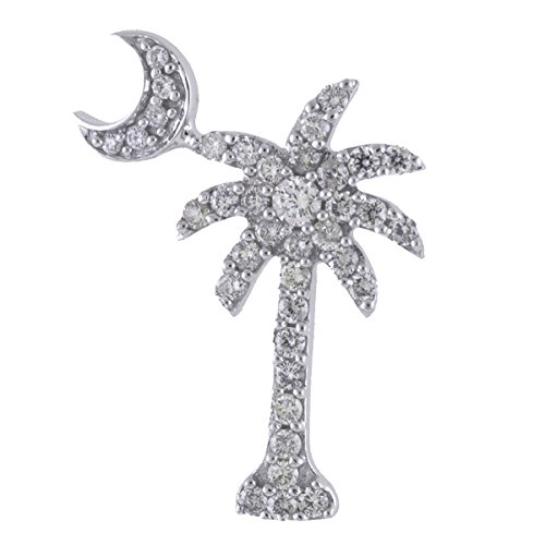 14K Weißgold .50 Ct Diamant Palm Tree Crescent Moon Anhänger