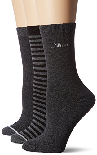 s.Oliver Socks Damen Women Fashion Socks 3p, 3er Pack, Grau (Anthracite 08), 35/38
