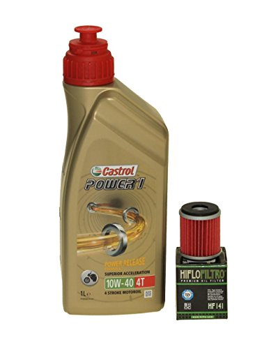 Öl Wechselset 1 Liter Castrol SAE 10W-40 Power 1 4T inkl. Ölfilter Hiflo HF141 für z.B. Yamaha TM Racing Rieju HM-Moto Gas Gas (Moto Yz Yamaha)