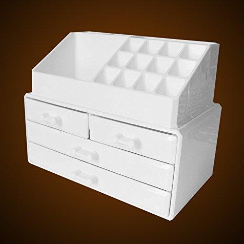 Schmink Aufbewahrung Make Up Organizer - Kosmetik Aufbewahrung Schubladen mit 20 Abschnitte - 16 Kosmetik-Halter & 4 Schubladen von Kurtzy - Acryl Kosmetik Veranstalter Schmuck Display-Multifunktional Ständer (Standard-arbeitsplatte Breite)