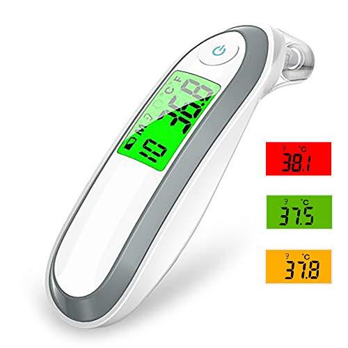 INEP Thermometer, 2-in-1 Stirn und Ohrthermometer mit Sofort Fieber Warnung Speicherfunktion 1 Sekunde Messzeit geeignet für Babys zu lesen und Erwachsene