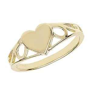 9 ct/Karat Gelb Gold Herz Mädchen – Ring WJS14901