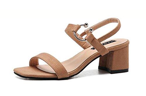 Sandali Scrub Casual 6 cm Maglia a Tracolla Maglia Avvolto A Piedi Alti Cinture Ankle Sandali Semplice Taglia UE 35-39 apricot