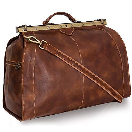 Vintage Italienische Echt Geöltes Leder Arzttasche, Reisetasche, Wochenendetasche, DREI Gr. M-L-XL, Marrone (XL) 56x39x27