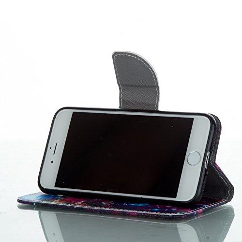 Custodia Cover iPhone 7/8,Copertura per iPhone 7/8 , iPhone 7/8 case portafoglio, Pelle Custodia per iPhone 7/8 ,iPhone 7/8 casa del raccoglitore, Flip Case per iPhone 7/8 , Ukayfe Moda Dipinto disegn stellato