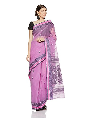 Gocoop Cotton Saree Without Blouse Piece (GCTSGCOSAA0154_Violet_One Size)