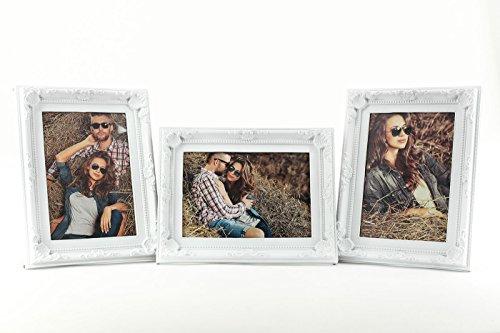 Marco para 1 foto (10x15 cm), diseño barroco, color blanco - Levandeo, plástico vidrio, 3...