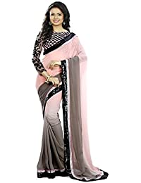 Mansvi Fashion Women's Georgette Saree With Blouse Piece (GREY PADDING_pich And Grey_Free Size)