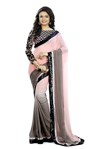 Mansvi Fashion women\'s Georgette Saree with blouse piece (GREY PADDING_pich and grey_Free Size)