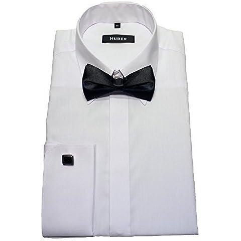 HUBER 1361 Polsini Camicia bianco con Papillon nero S fino a XXL Vestibilità Slim