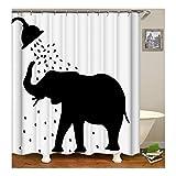 Beydodo Bad Vorhang für Badezimmer Dusche Elefant Lustiger 3D Duschvorhang Antischimmel 180X200
