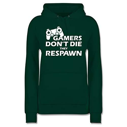 Shirtracer Nerds & Geeks - Gamers Dont die They Respawn weiß - S - Dunkelgrün - JH001F - Damen Hoodie - Sterben Hoody