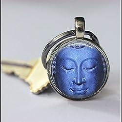 Llavero Vintage azul llavero de buda, diseño de Buda Art colgante clave cadena llavero, diseño de, hecho a mano, Vintage joyas, joyas de moda para las mujeres o los hombres