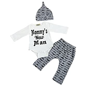 Boys Clothing Sets, SHOBDW 3PCS Newborn Baby Boy Cute Set Romper Tops+Long Pants Hat Outfits Clothes (0-3 Months, Black)