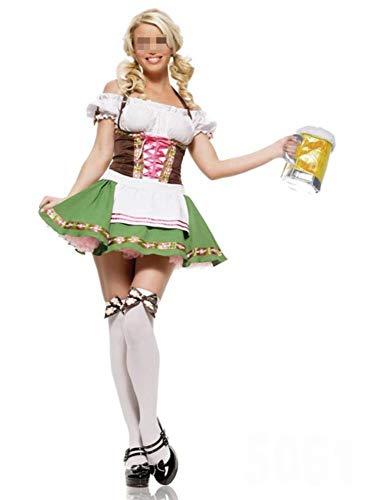 Deutsches Bier Kinderkostüm Bayerische Lederhosen Oktoberfest Plus Size Outift Kostüm Oktoberfest Dirndl Biermädchen Kostüm,Woman,XXL (Deutsches Bier Lady Kostüm)