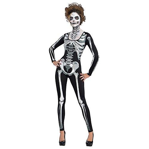 Standard Erwachsene Kostüm Catsuit Skelett, Schwarz (Skelett Catsuit Kostüm)