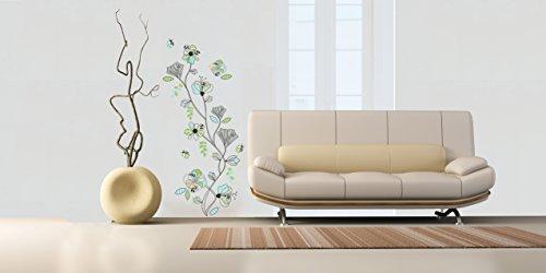 Sticker für Wand – Wandtatoos für Kinderzimmer, Wohnzimmer, Schlafzimmer, Babyzimmer - Wanddeko Modern – 2 x 70x50cm Wandsticker Deko Set Folien Blumenmuster