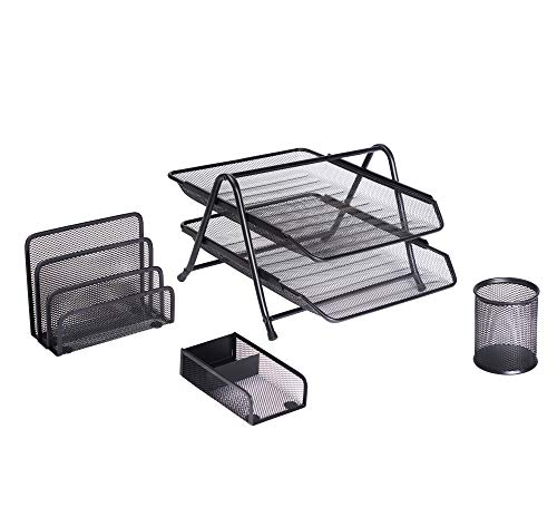 Exerz Premium Mesh Office Set of 4 PCS - 2 Tier Letter Tray/Filing/ Paper Tray, Letter Rack, Pen Pot, Clips & Memo Pad Holder (EX2480 Black)