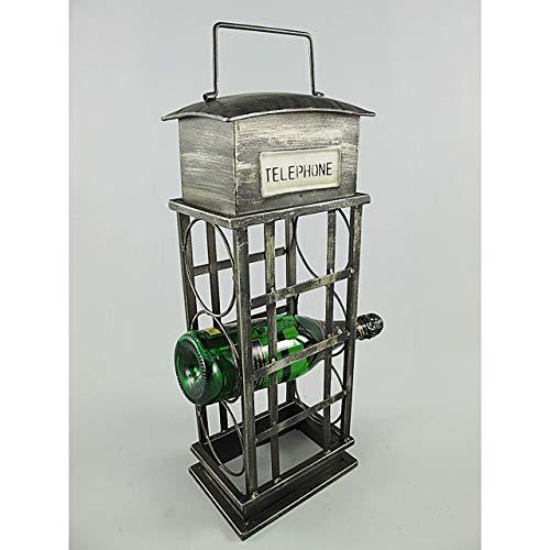 Gr Weinschrank Wein Regal Ständer Halter Telefonzelle 3 Flaschen grau Eisen Metall
