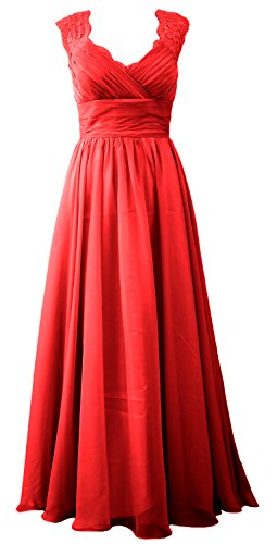 MACloth Women Vintage Long Bridesmaid Dress V Neck Lace Formal Evening Gown (Custom Size, Rot)