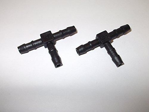 2 x 4 mm 5/81,3 cm Plastique barbelé Raccord en T Raccord de tuyau en plastique Noir cannelé Eau carburant étang Aquarium Tube d'air