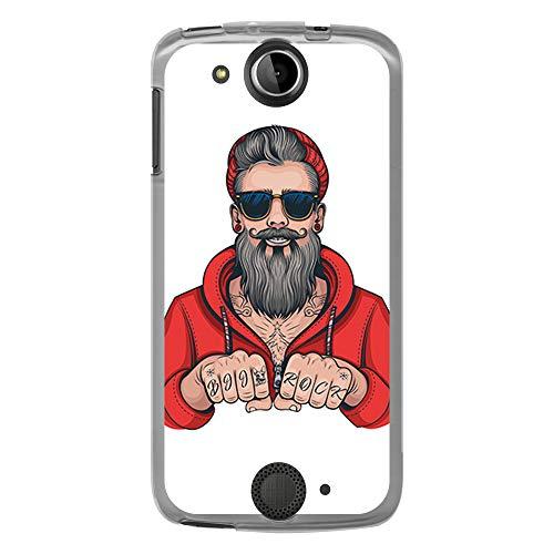 BJJ SHOP Tansparent Hülle für [ Acer Liquid Jade S ], Flexible Silikonhülle, Design: Hipster Man, Tattoos mit Bart und Sonnenbrille