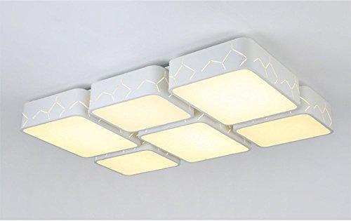 Deckenleuchte Die moderne minimalistische Schlafzimmer Wohnzimmer Esszimmer Kreativität Beleuchtung die Ledthe Atmosphärischer Rechteck Halle und drei hellen Farbton (94 * 62 Cm) 72 W MeloveCc (Rechteck-lampen-farbtöne)