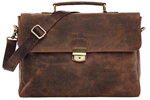 LEABAGS Blackpool Aktentasche 15 Zoll Laptoptasche aus echtem Leder im Vintage Look