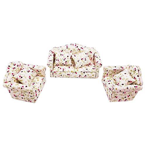 CHshe®--1:12 Mini Puppenhaus Möbel, Miniatur Wohnzimmer Kinder spielen so tun als ob Spielzeug, Mini Puppenhaus Möbel (D) Sofa Set -