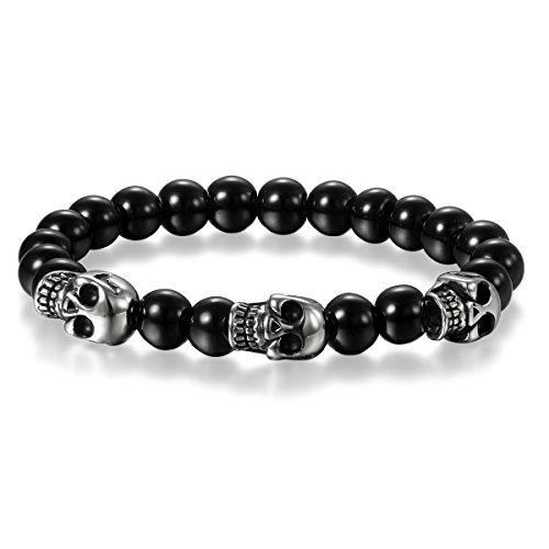 Cupimatch Inoxidable steelskull pulsera, hombre calavera pulsera de perlas de 8mm Buda negro elástico gótico joyería
