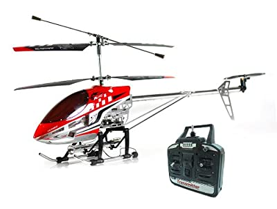 Playtech Logic Sky King (HCW8501) 3 Channel RC Radio Controlled Outdoor Metal Gyro Helicopter - Ready to Fly - Red, Blue