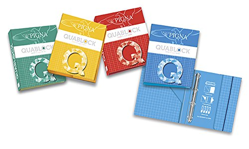 Segregator A4 Pigna Quablock 4 zaczepy z kieszeniami i gumka mix kolorów