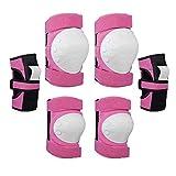 Gaoominy Set di Protezioni per Bambini, Set di Equipaggiamento Protettivo con 2 Ginocchiere, 2 Gomitiere, 2 Cuscinetti per Polso, per Pattinaggio E Ciclismo Outdoor Sport Rosa